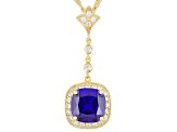 22.50ctw Tanzanite Color 18k Yg Over Sterling Pendant With 18