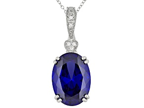 """21.90ctw Tanzanite Color Rhodium Plated Sterling Enhancer 18"""" Chain"""