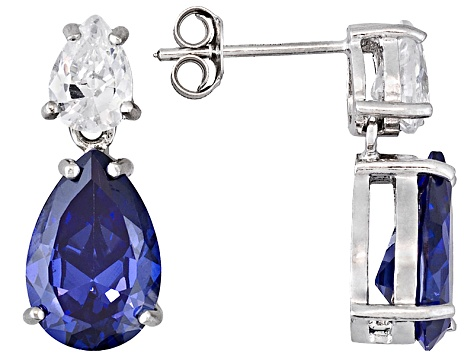 13.65ctw Tanzanite Color Rhodium Over Sterling Silver Dangle Earrings