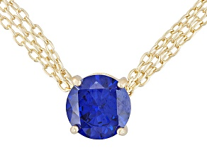 Bella Luce ® Esotica ™ 7.20ct Tanzanite Color 18k Yellow Gold Over Sterling Solitaire Necklace