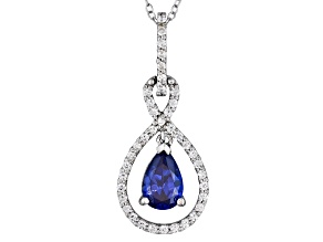 1.86ctw Tanzanite Color Rhodium Over Sterling Pendant With 18
