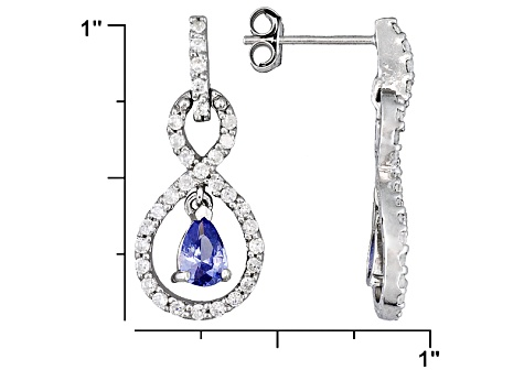 2.84ctw Tanzanite Color Rhodium Over Sterling Silver Dangle Earrings