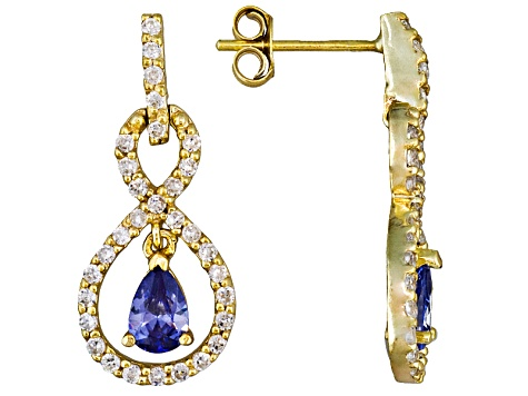 Bella Luce® Esotica™ 2.84ctw Tanzanite Color 18k Yg Over Sterling Silver Dangle Earrings