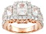 White Cubic Zirconia 18k Rose Gold Over Silver Ring 5.73ctw