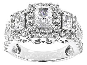 Womens 3-Stone Halo Ring Cubic Zirconia 5ctw Emerald Cut Platineve