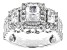 Womens 3-Stone Halo Ring Cubic Zirconia 5ctw Emerald Cut Platineve