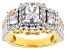 Womens 3-Stone Ring Cubic Zirconia 5ctw Emerald Cut 18kt Gold Over Silver