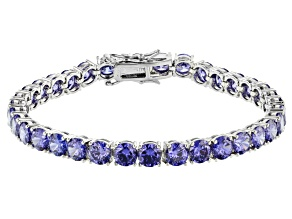Blue Cubic Zirconia Rhodium Over Sterling Silver Tennis Bracelet 28.44ctw