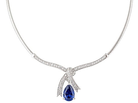 5.76ctw Tanzanite Color Rhodium Over Sterling Silver Necklace