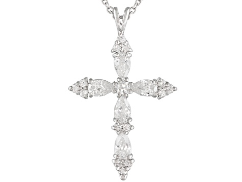 Bella luce 158ctw rhodium over sterling silver cross pendant with bella luce 158ctw rhodium over sterling silver cross pendant with 18 aloadofball Gallery