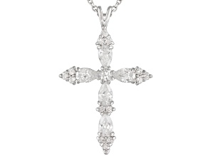 Bella Luce ® 1.58ctw Rhodium Over Sterling Silver Cross Pendant With 18