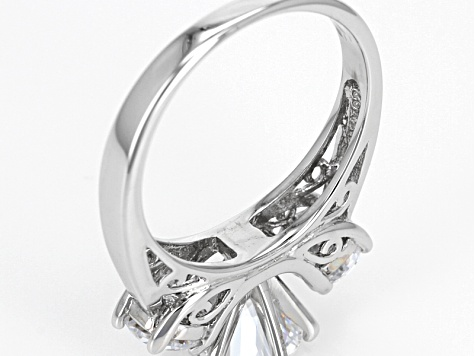 White Cubic Zirconia Rhodium Over Sterling Silver 3-Stone Ring 4.53ctw