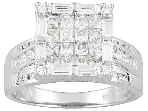 Cubic Zirconia invisible Set Platineve Ring 2.36ctw