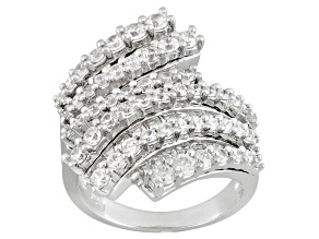 Bypass Wrap Ring White Cubic Zirconia 4ctw Sterling Silver