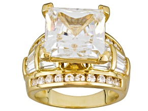 Womens Engagement Cocktail Ring Cubic Zirconia 15ctw 18k Gold Over Silver