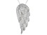 White Cubic Zirconia Rhodium Over Sterling Silver Angel Wing Pendant With Chain 1.85ctw