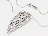 White Cubic Zirconia Sterling Silver Angel Wing Pendant With Chain 1.85ctw