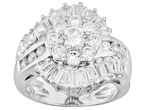 White Cubic Zirconia Brilliant Cut Rhodium Over Sterling Silver Ring With Wrap 3.71ctw