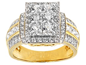 Cubic Zirconia 18k Yellow Gold Over Silver Ring 3.26ctw (2.44ctw DEW)