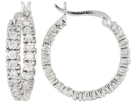 Bella Luce® 2.10ctw Rhodium Over Sterling Silver inside/Out Hoop Earrings