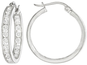 White Cubic Zirconia Sterling Silver inside/Out Hoop Earrings 2.20ctw