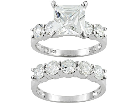 7.4ctw Princess Cut White Cubic Zirconia .925 Sterling Silver Ring. 5-Stone Band