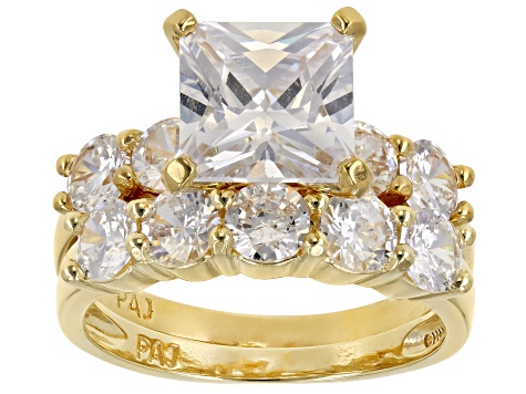 7.4ctw Princess Cut White Cubic Zirconia .925 18k yellow gold over silver. 5-Stone Band