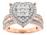 White Cubic Zirconia 18k Rg Over Sterling Silver Heart Ring 2.36ctw