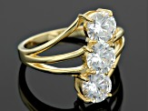 White Cubic Zirconia 18k Yellow Gold Over Sterling Silver Ring 4.08ctw