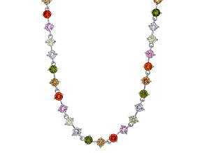 Pink,Orange,Brown,Green,Purple, Yellow Cubic Zirconia Rhodium Over Sterling Necklace 28.63ctw