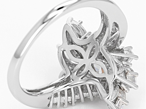 White Cubic Zirconia Rhodium Over Sterling Silver Ring 4.25ctw