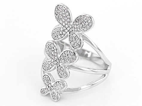 White Cubic Zirconia Rhodium Over Sterling Silver Butterfly Ring .70ctw
