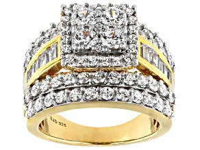White Cubic Zirconia 18k Yellow Gold Over Sterling Silver Ring 6.25ctw