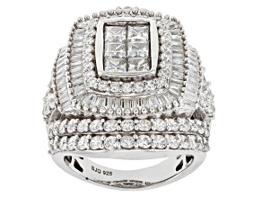 White Cubic Zirconia Rhodium Over Sterling Silver Ring 8.65ctw