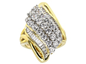 White Cubic Zirconia 18k Yellow Gold Over Sterling Silver Ring 5.31ctw