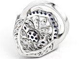 Blue And White Cubic Zirconia Rhodium Over Sterling Silver Ring 3.05ctw