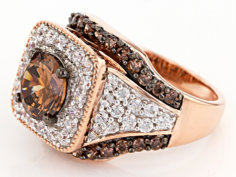 Mocha And White Cubic Zirconia 18k Rose Gold Over Sterling Silver Ring 7.29ctw