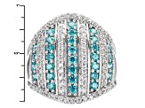 Swarovski ® Green Zirconia & White Cubic Zirconia Rhodium Over Silver Ring 3.34ctw
