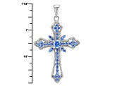 Blue Zirconia From Swarovski ® Rhodium Over Sterling Silver Pendant With Chain 1.46ctw