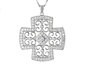 White Cubic Zirconia Rhodium Over Sterling Silver Pendant With 18