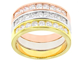 White Cubic Zirconia Rhodium Over Silver & 18k Rose Gold & Yellow Gold Over Silver Rings 3.30ctw