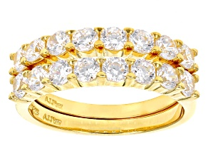 White Cubic Zirconia 18k Yellow Gold Over Sterling Silver Rings-Set Of 2 3.20ctw
