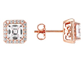 White Cubic Zirconia 18k Rose Gold Over Sterling Silver Earrings 5.35ctw