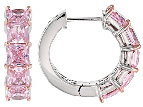 Pink Cubic Zirconia Rhodium Over Sterling Silver Earrings 10.63ctw
