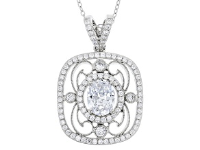 White Cubic Zirconia Rhodium Over Sterling Silver Pendant With Chain 4.77ctw