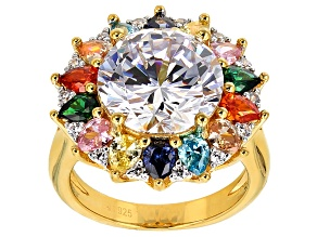 White And Multicolor Cubic Zirconia 18k Yellow Gold Over Sterling Silver Ring 14.24ctw