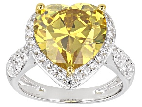 Yellow And White Cubic Zirconia Rhodium Over Sterling Silver Ring 12.16ctw