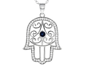 Lab Created Blue Spinel And White Cubic Zirconia Rhodium Over Silver Pendant With Chain .66ctw