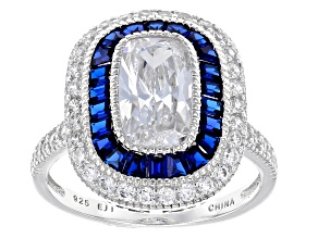 Synthetic Blue Spinel & White Cubic Zirconia Rhodium Over Silver Ring 3.85ctw
