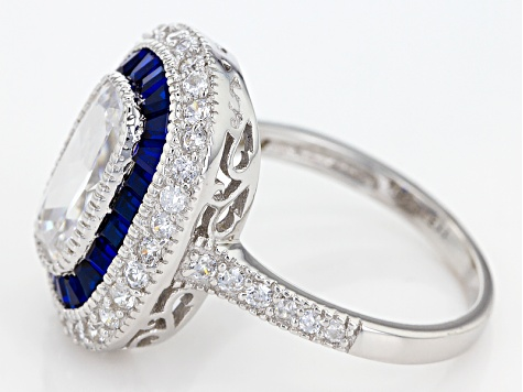 Lab Created Blue Spinel And White Cubic Zirconia Rhodium Over Silver Ring 3.85ctw